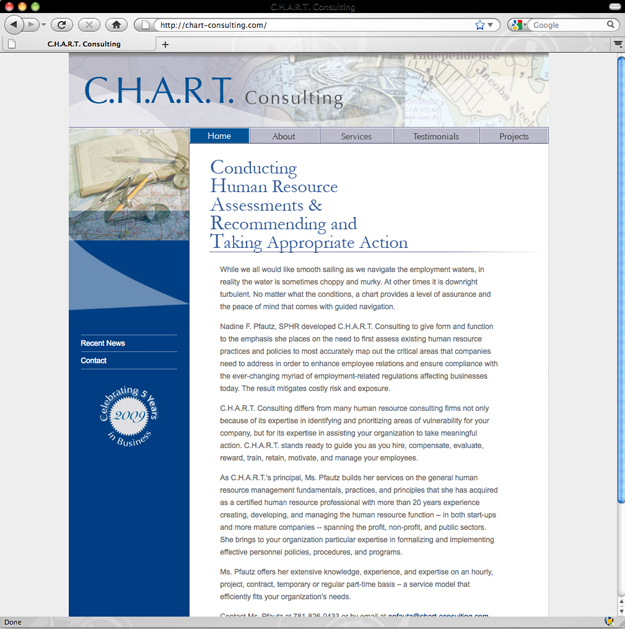 CHART Consulting website, Nadine Pfautz, human resource consultant