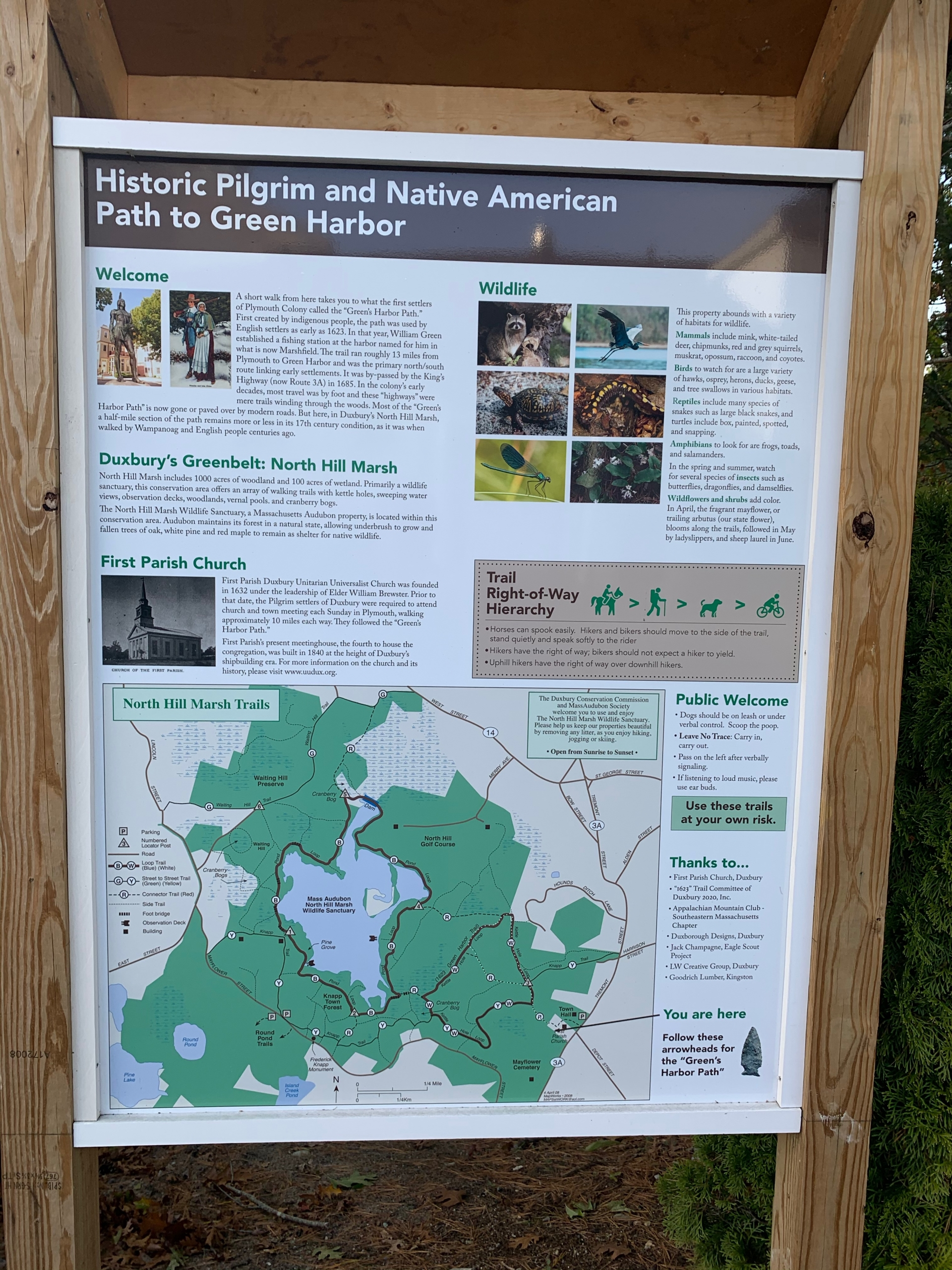 Duxbury 1620 trail sign